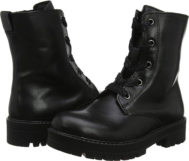 botas militares negras altas para niña