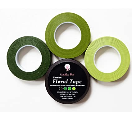21c72b59d811a Floral Tape 1/2 x 30 Yards Premium Quality Flower Stem Wrap Tape Self  Sealing Adhesive for Bouquet Flowers Paper Flowers Stem w/ebook; Dark  Green, ...