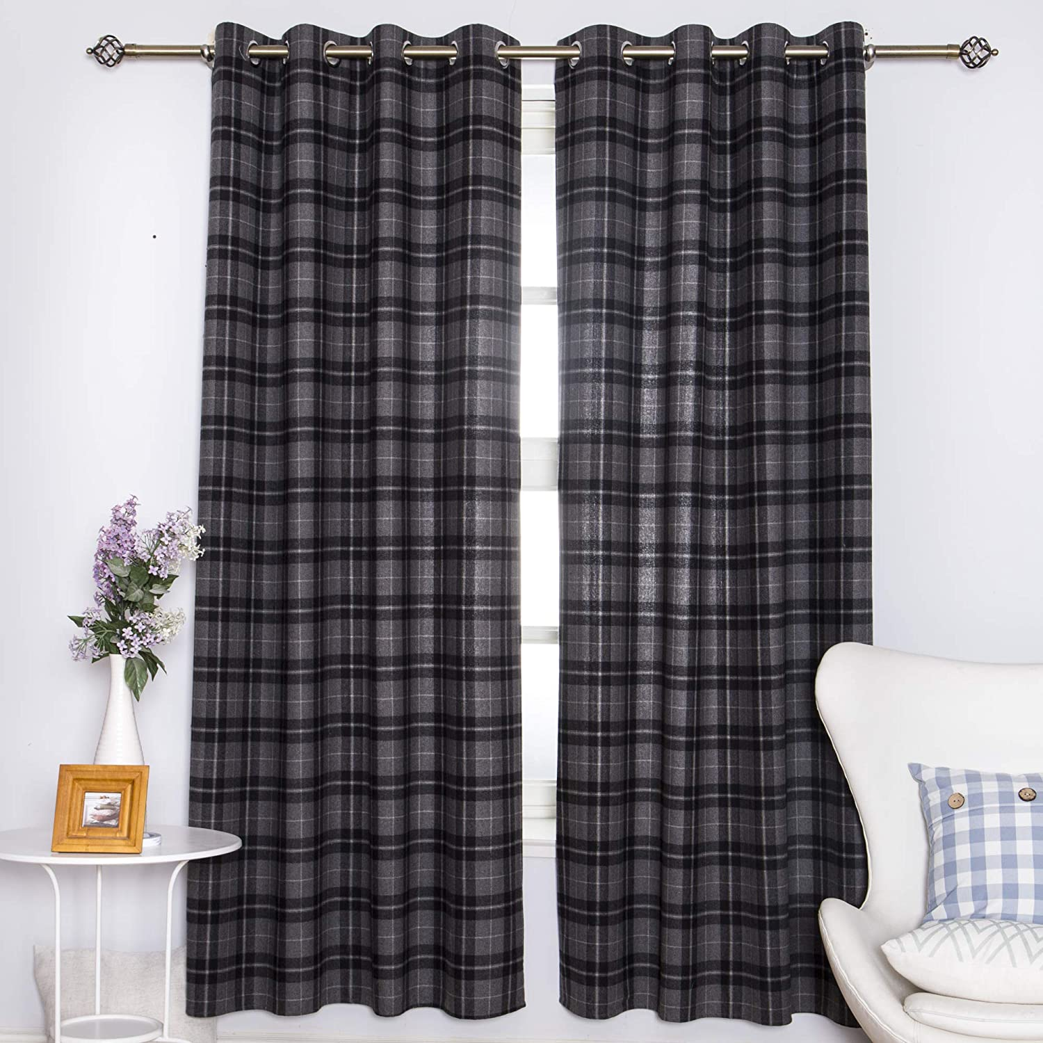 DOLLMEXX Plaid Curtains, Lumberjack Fashion Buffalo Style Checks Pattern  Retro Style with Grid Composition, Living Room Bedroom Window Drapes(2  Panels, ...