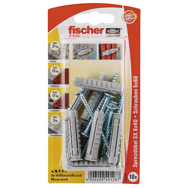 Fischer 49128 Lot de 10 Chevilles SX 8 x 40 mm SK