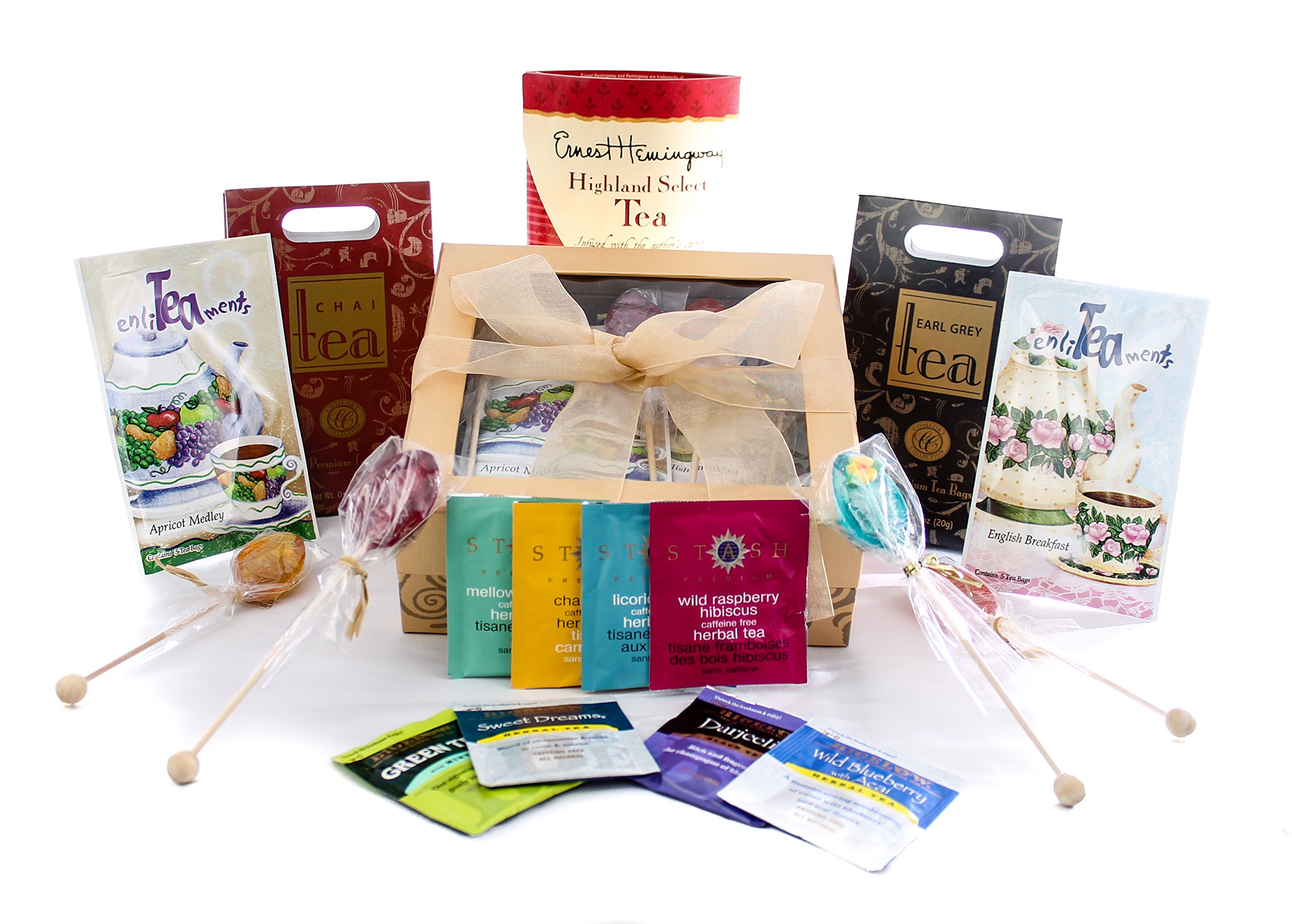 Gourmet Tea Lovers Gift Gold Box With Bow By Gifts Unlimited, Featuring Melville Honey Spoons Great Gift