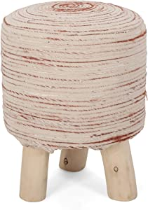 Winnie Handcrafted Boho Woven Stitch Stool, Beige, Red Brown, and Natural