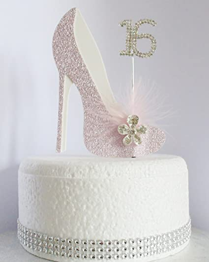 Excellent 16Th Pink And White Birthday Cake Decoration Shoe With Feathers Funny Birthday Cards Online Unhofree Goldxyz