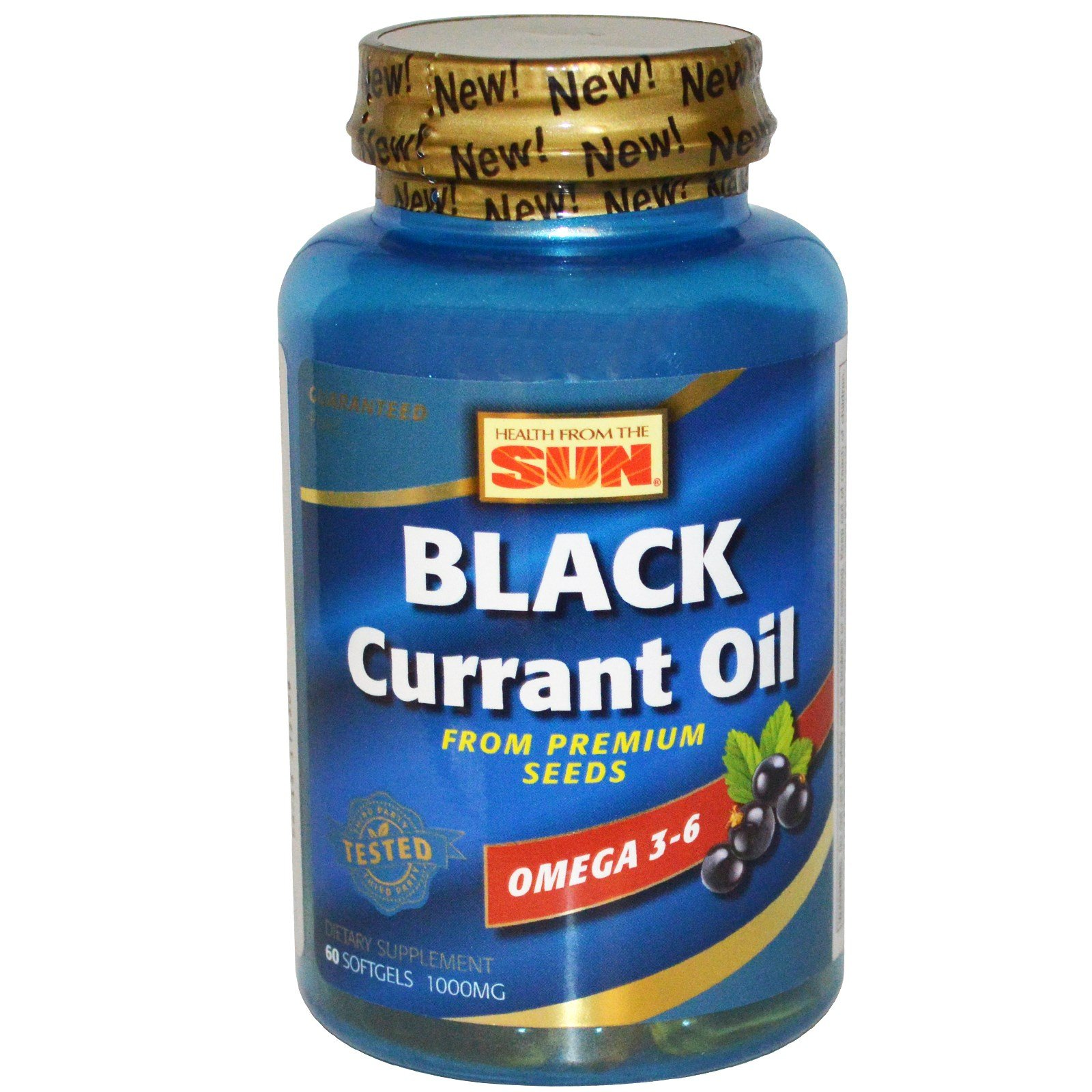 Health From The Sun, Black Currant Oil, 1,000 mg, 60 Softgels - 2pc