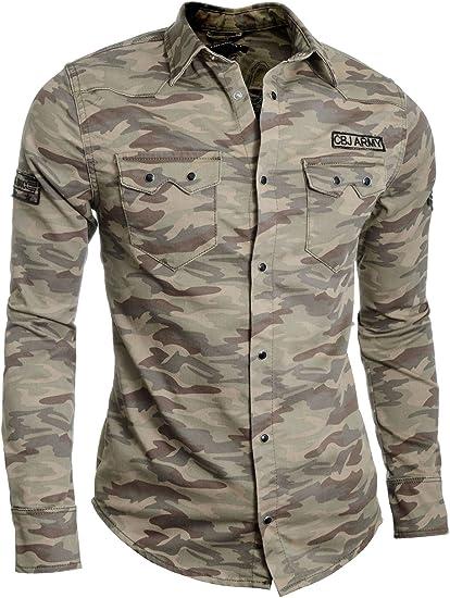 Cipo & Baxx Camisa Casual Hombre Patrón de Camo Estilo Militar Parches Algodón XL Camel: Amazon.es: Ropa y accesorios