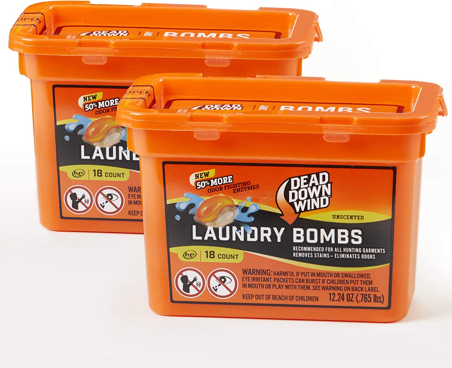 Dead Down Wind Laundry Bombs | 2 Pack | 18 Count (36 Total) | Unscented | Laundry Detergent, Odor Eliminator + Stain Remover for Hunting Accessories, Gear and Clothes, Safe for Sensitive Skin