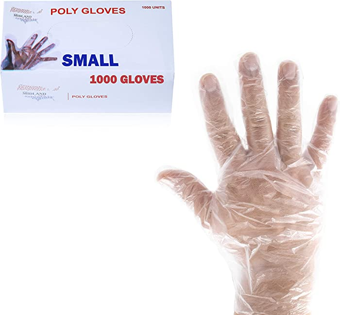 1000 Small Food Service Gloves, Poly Food Gloves Disposable for Food Prep Kitchen Food Service