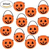 24 Halloween Mini Pumpkin Kettle Cups Trick Or Treats Plastic Buckets With Handles Goody Party Favors Supplies