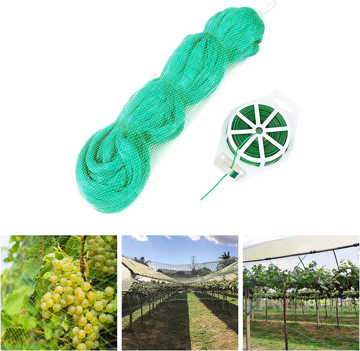 Bldaxn Green Anti Bird Netting Garden Protection Mesh Netting Reusable Protective Garden Netting for Plants Fruit Trees Against Birds,Deer and Other Animals,Netting Fence 13Ft x 50Ft