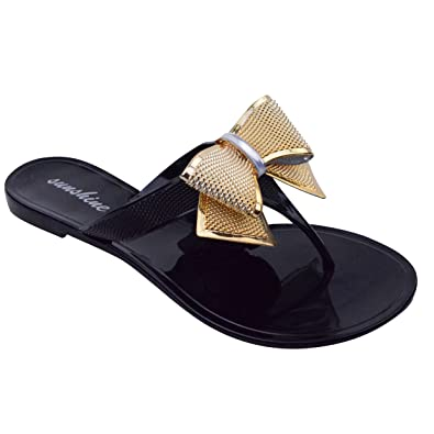 1a47d2c8f374be WOMENS LADIES BOW DIAMANTE JELLY FLAT BEACH SUMMER FLIP FLOP TOE POST THONG  SANDALS SIZE 3 4 5 6 7 8 (UK 3   EU 36   US 5