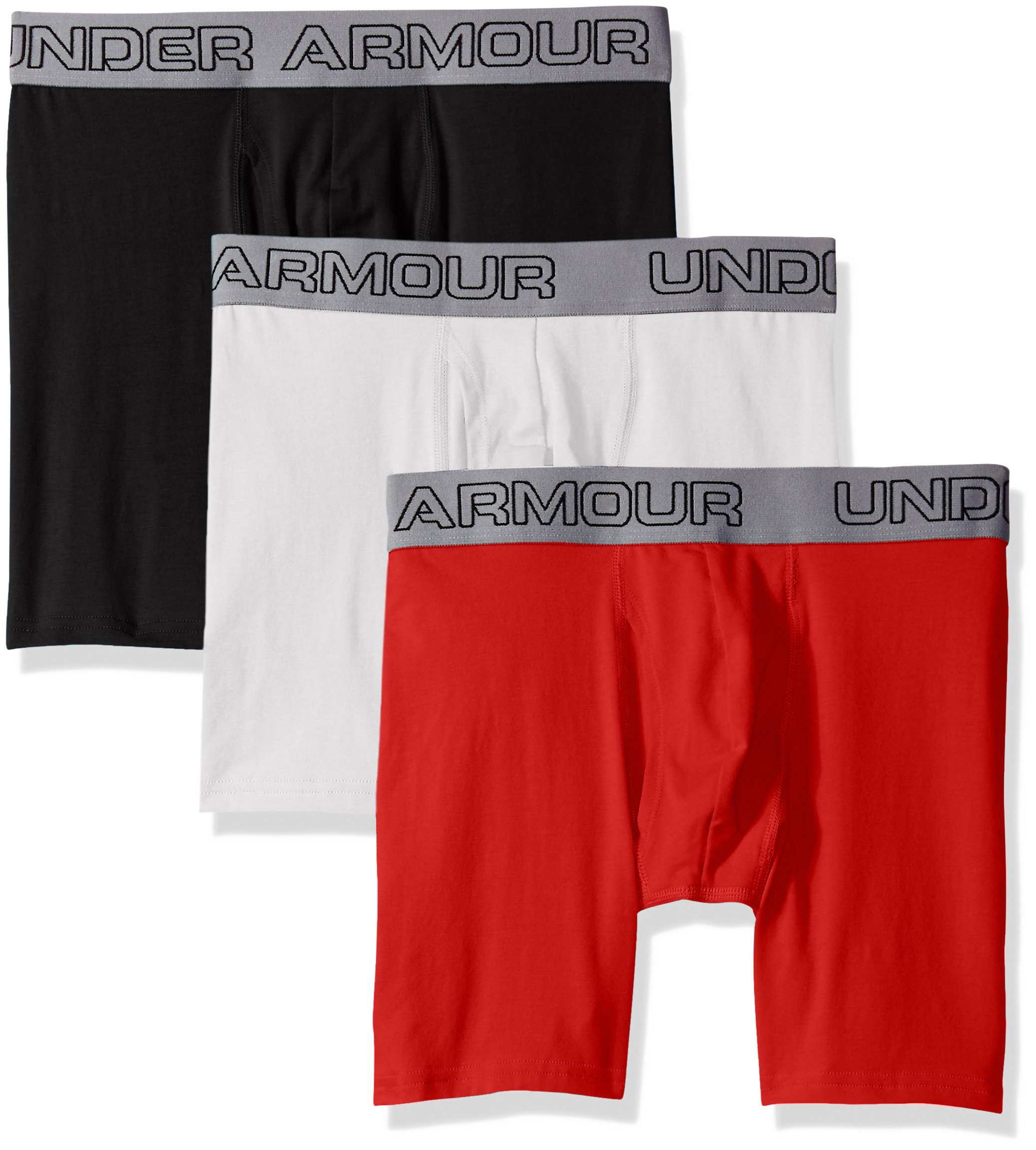 "Under Armour Men's Charged Cotton Stretch 6"" Boxerjock 3-Pack, White/Red, Small"