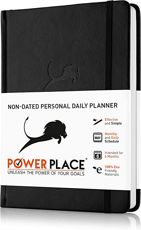 Amazon.com : Daily Planner, Calendar and Gratitude Journal to Increase  Productivity & Happiness, High Performance Organizer Planner | Vegan  Leather Hardcover, Undated 6-Months, 24-Hour Agenda Planner (Black) :  Office Products
