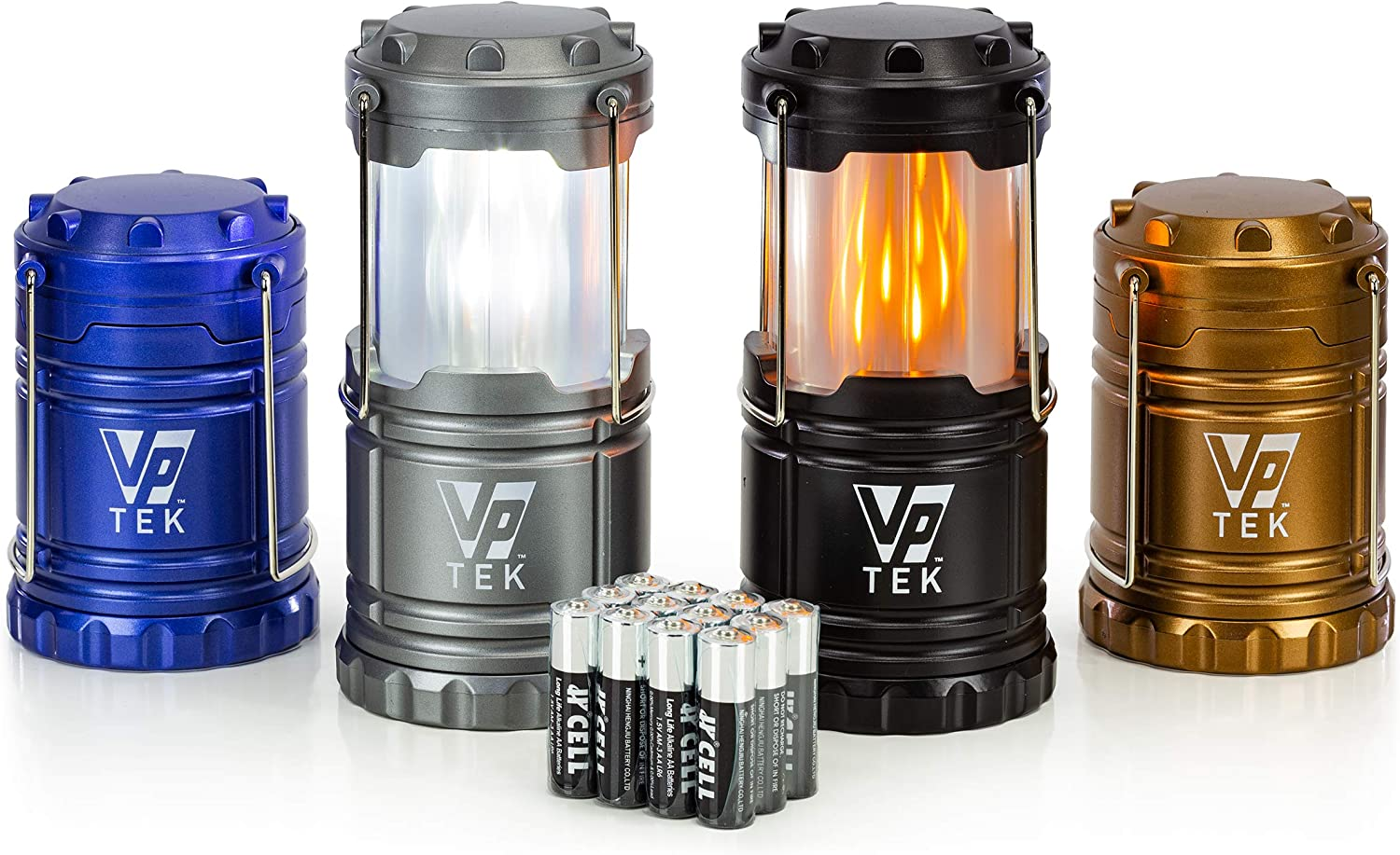 VP TEK Dual Function Collapsible LED Camping Lanterns with Flickering Flame Light and Bright LED Light (Pack of 4)
