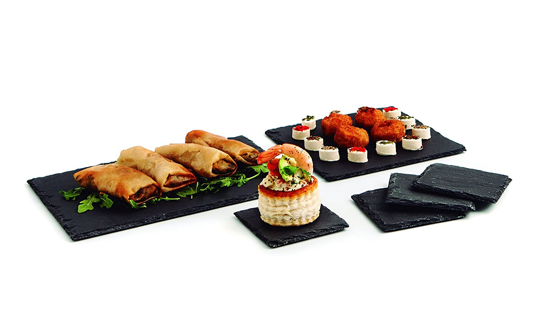 Quid Gastro Fun - Set de 6 platos pizarras, 1 de 30 x 20 cm, 1 de 20 x 20 cm y 4 de 10 x 10 cm, color negro