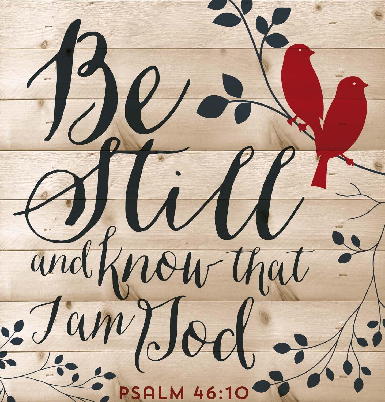 P. GRAHAM DUNN Be Still Psalm 46:10 Red Birds Design 12 x 12 Wood Lath Wall Art Sign Plaque