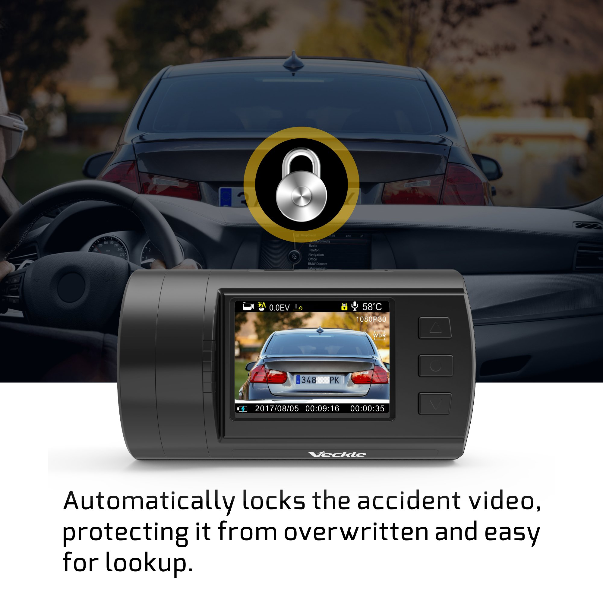Dual Dash Cam, Veckle Mini 0906 Dual Channel 1080P FHD Dashboard Camera Recorder with GPS, CPL Filter, Sony Night Vision Exmor Sensor, 7 Lens Wide Angle 1.5 inch LCD, Loop Recording Dash Cam for Car by Veckle (Image #6)