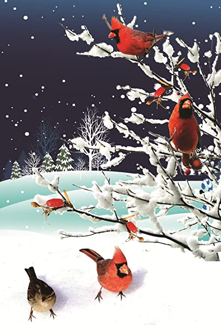 Winter Garden Flag Cardinals Snow Red Bird 12x18 Inch Double Sided