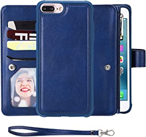 SAVYOU iPhone 8 Plus Case,iPhone 7 Plus Wallet Case with Magnetic Detachable Cover fit Car Mount [8 Credit Card Slots] [Wrist Strap] 2 in 1 Folio Flip Durable PU Leather Wallet Kickstand Case (Blue)
