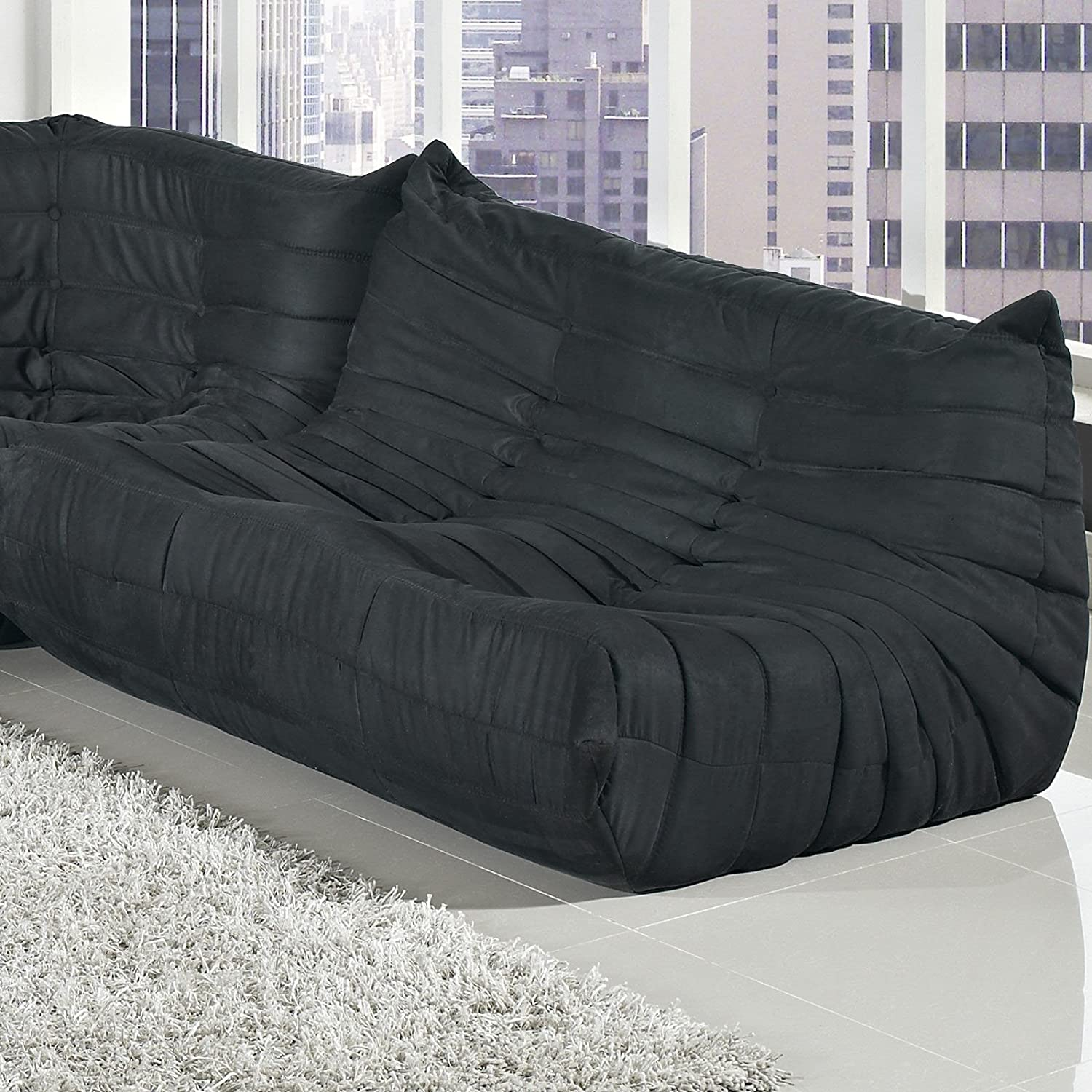 Amazon LexMod Waverunner Modular Sectional Loveseat in Black