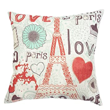 decor mi colourful love paris pattern cotton square throw pillow case decorative durable cushion slipcover home