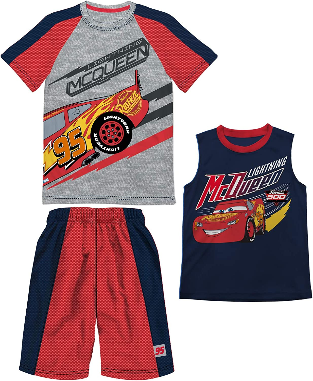 Disney Boys Cars Lightning McQueen Gray Heather 3 Piece T-Shirt...