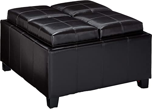 Christopher Knight Home Mason Bonded Leather Tray Top Storage Ottoman