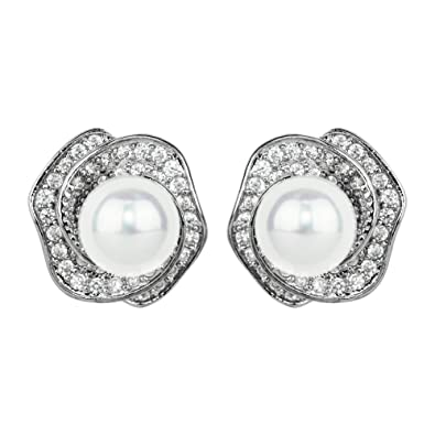 c7ad77c2e Amazon.com: Cubic Zirconia Rose Studs and Faux Pearl, Silver: Jewelry