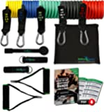 Resistance Bands Widerstandsband Set von BeMaxx Fitness + Trainingsguide - Pro Expander Band Tubes - Widerstandsbandset: 5 Widerstandsbänder + Griffe, Türanker & Fußschlaufen für Ganz-Körper-Workout