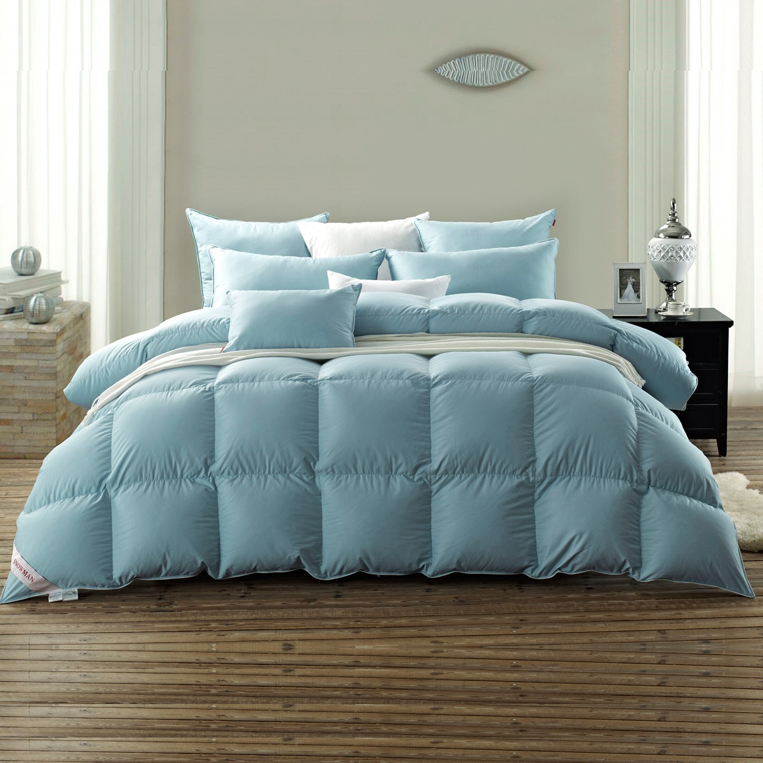SNOWMAN Luxury White Goose Down Comforter Queen Size 100% Luxury Cotton Cover Down Proof Blue