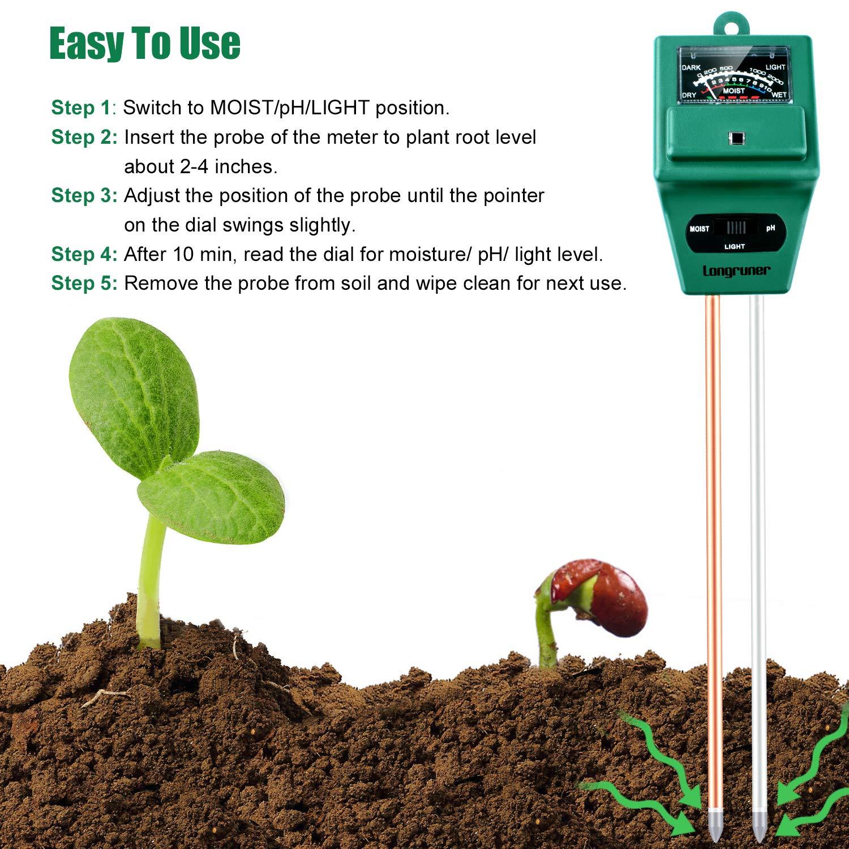 Lawn 3-in-1 Plant Moisture Sensor Meter//Light//PH Tester for Home Farm No Battery Needed Indoor//Outdoor LKP03 Garden Longruner Soil Moisture PH Meter