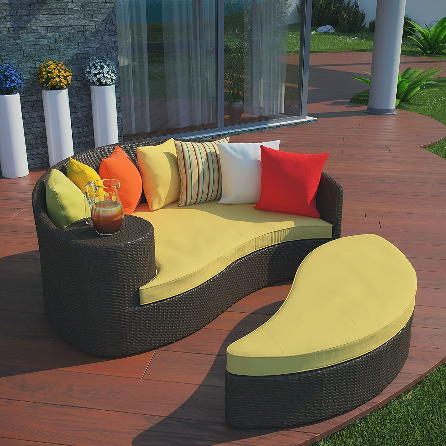 High Quality Amazon.com : Modway Taiji Outdoor Wicker Patio Daybed With Ottoman In Brown  With Orange Cushions : Patio Lounge Chairs : Garden U0026 Outdoor