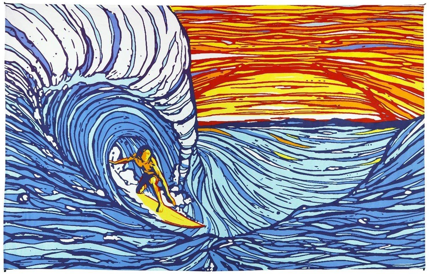 Sunshine Joy Sunset Surfer Ocean Wave Surf Tapestry Wall Hanging Huge 60x90 Inches