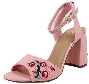 Delicious Women's Open Toe Ankle Strap Flower Block Heel Sandal (Pink, 11 B(M) US)