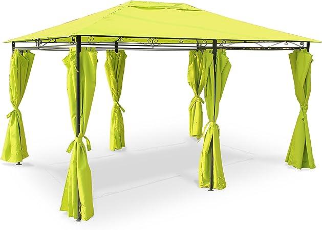 Alices Garden Nicae – Carpa de 3 x 4 m, lona color verde, pérgola con cortinas, tienda de jardín, para recepciones: Amazon.es: Jardín