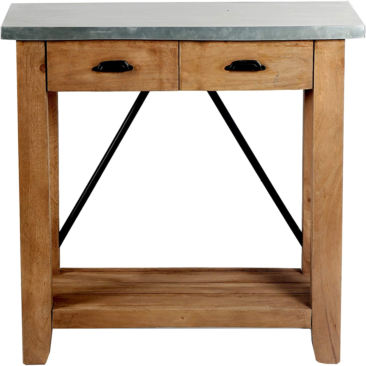 """Millwork 30"""" Wood and Zinc Metal 30"""" Console with Two Drawers"""