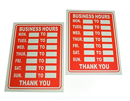 amazon com lot of 2 plastic 9 x 12 business hours sign store
