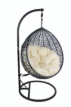 Jardín refugio® ratán mimbre jardín Patio para colgar Swing silla ...
