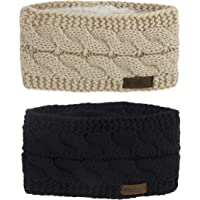 Women Fuzzy Fleece Lined Thick Cable Knitt Headband 2 Pack
