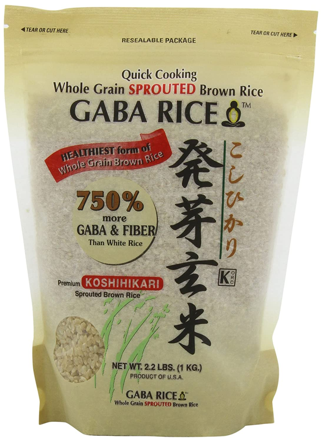 Amazon : Koshihikari Premium Sprouted Brown Gaba Rice, 22pound  Pouches (pack Of 2) : Dried Brown Rice : Grocery & Gourmet Food