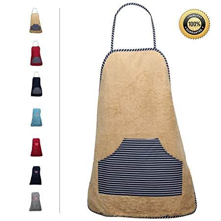 Convenient Pocket Durable Stripe Kitchen and Cooking Apron