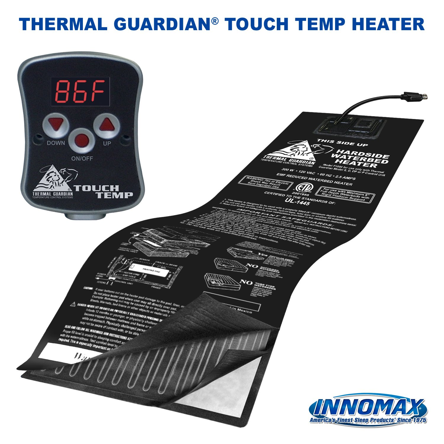 INNOMAX Thermal Guardian Touch Temp Solid State Hardside Waterbed Heater Full Watt InnoMax Corp 3-1048-TOUCH-FW