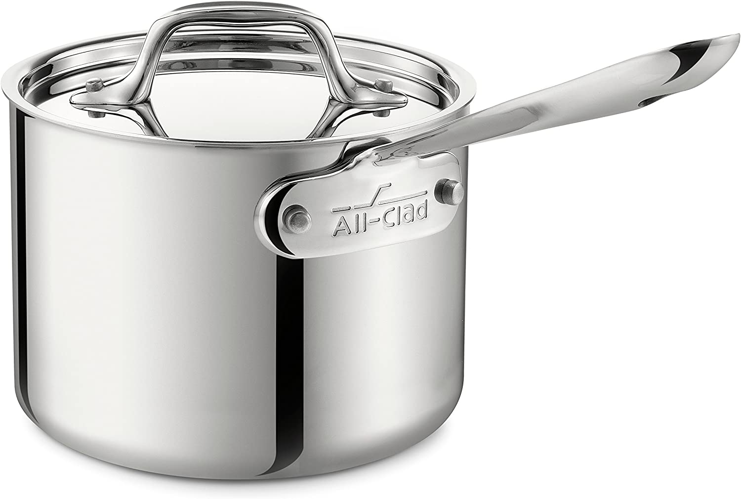 All-Clad Stainless Steel Sauce Pan with Lid Cookware, 2-Quart, Silver,4202