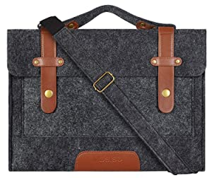 MOSISO Felt Laptop Shoulder Bag Compatible 13-13.3 inch Old MacBook Air, MacBook Pro Retina 2012-2015, Surface Laptop 2017, Surface Book, Notebook Computer, Black