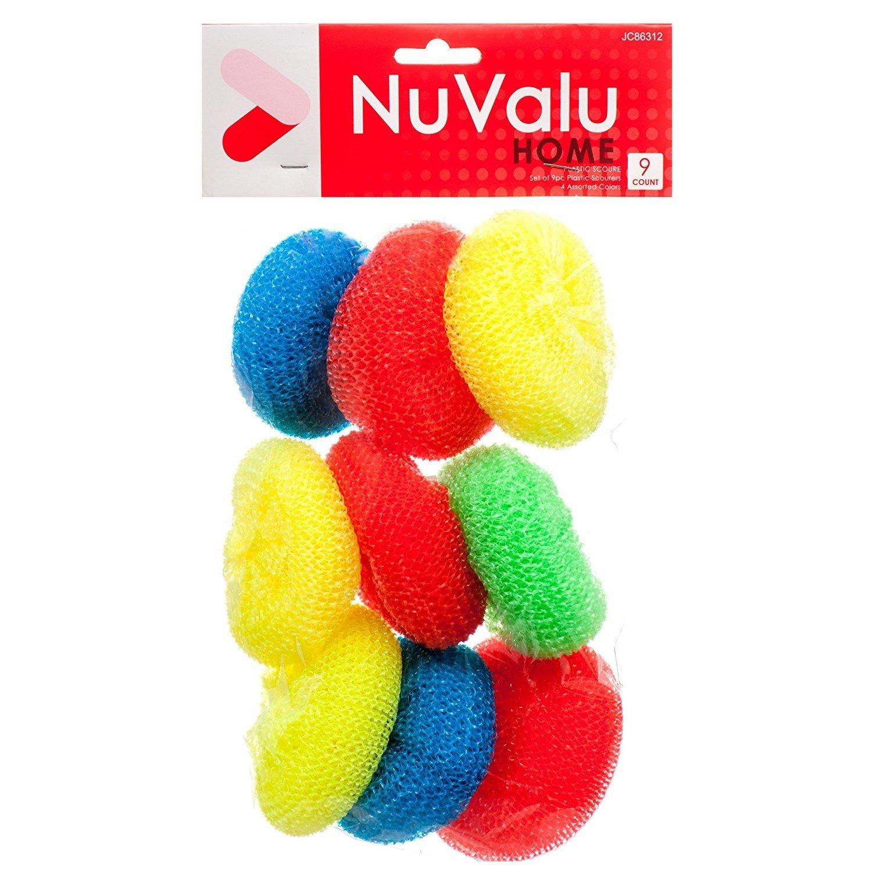 NuValu Heavy Duty Dish Scrubber Scourer Sponge - for Dish Pot & Pan Scrub - 9 Pack