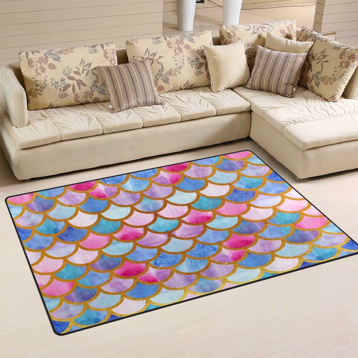 Naanle Colorful Rainbow Mermaid Scales Non Slip Area Rug for Living Dinning Room Bedroom Kitchen, 50 x 80 cm(1.7' x 2.6' ft), Watercolor Abstract Art Nursery Rug Floor Carpet Yoga Mat
