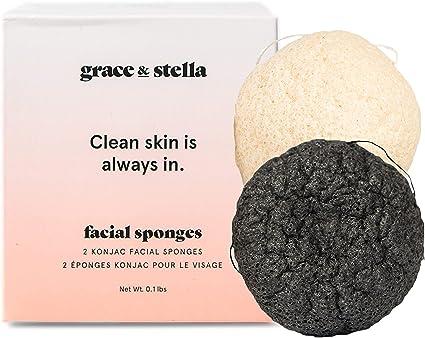 Grace & Stella Co. Esponja limpiadora facial suave de konjac para limpiar las impurezas de mujeres y hombres 2 piezas