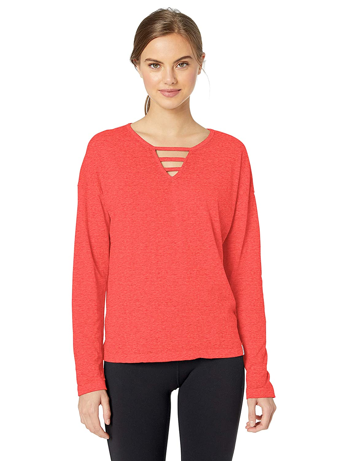 Marc New York Performance Womens Cool Wash Long Sleeve Cut-Out Front Tee