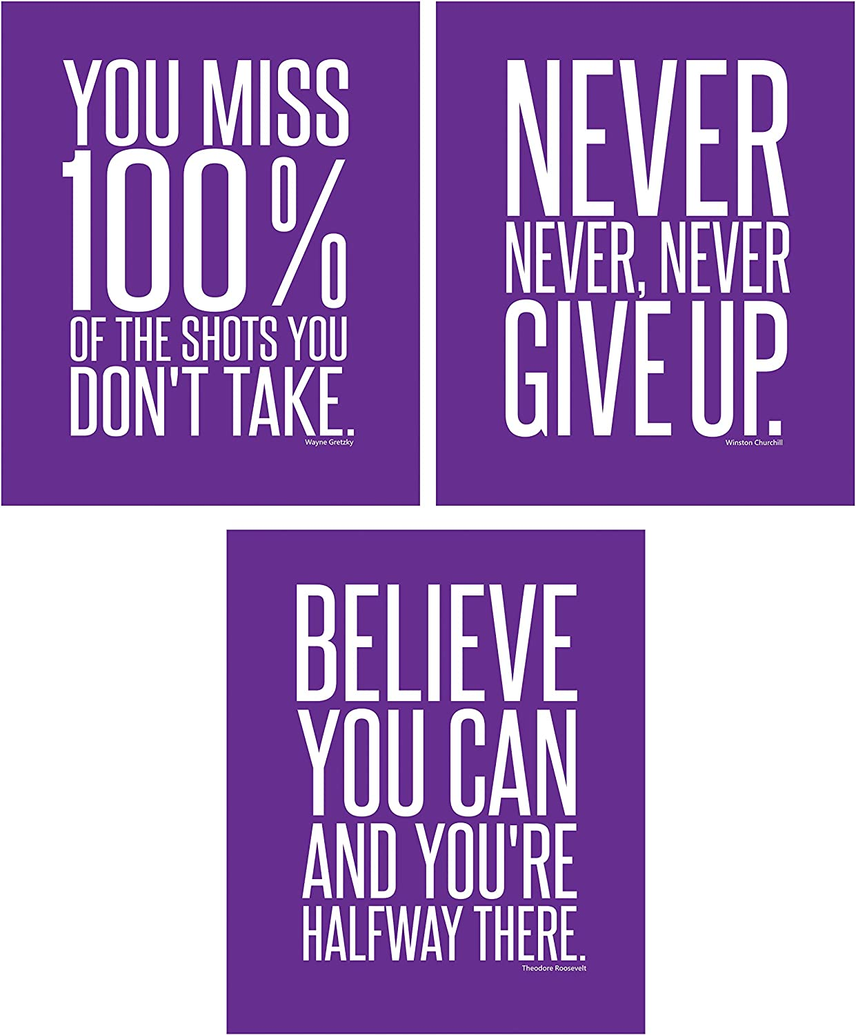 Don't Give Up Wall Art Decor of Famous Quotes for Teen Boy Girl Student Entrepeneur | Decorations and Accessories for Gym Bedroom Office Classroom | Prints Posters Phrases Sayings Photos and Signs of Positive Affirmations | Morado Purpura (8 x 10 Purple)