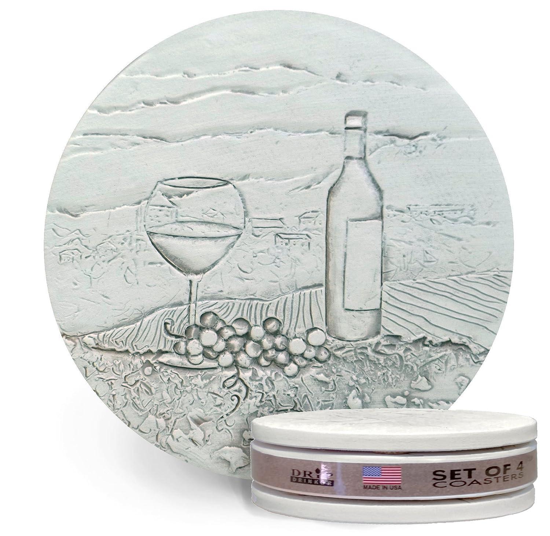 Drink Coasters by McCarter Coasters, Vineyard Scene, Absorbent, Wine, Light Beige 4.25 inch (4pc)