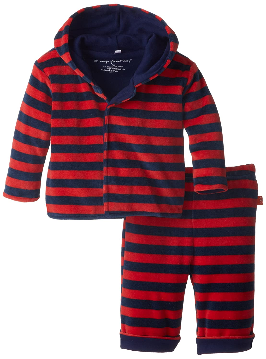 Magnificent Baby Baby-Boys Infant Velour Hoodie and Pants, Green/Navy, 3T 8024-B